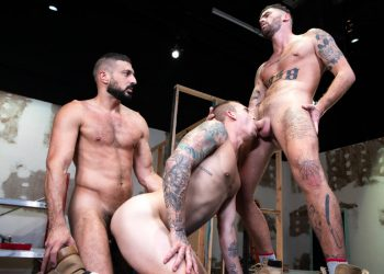 "Raging Stallion: Marco Napoli, Isaac X and Chris Damned fuck in ""Caulk Job"" (scene 1)"