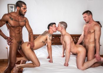 "Lucas Fox and Andrey Vic fuck Ruslan Angelo and Angel Cruz  in ""Hot As Fuck"" (scene 3)"