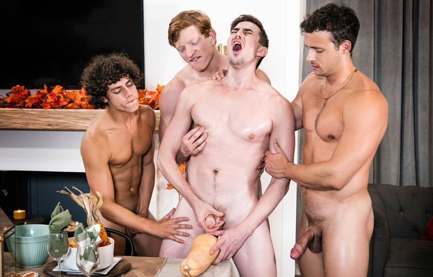 "MEN: Kyle Connors, Kaleb Stryker, Jack Hunter, and Nate Grimes fuck in ""Grateful For Squash"""