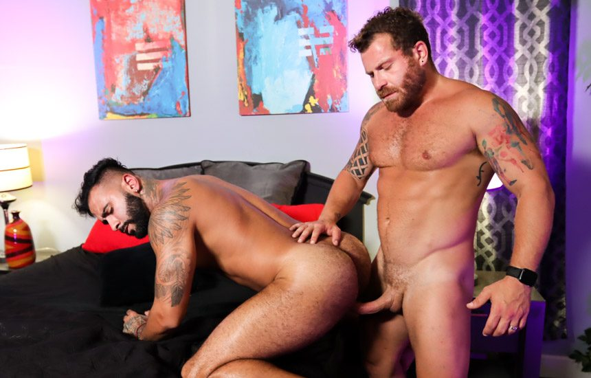 """Pride Studios: Rikk York and Riley Mitchel flip-fuck in """"Unmasked And Ready To Fuck"""""""