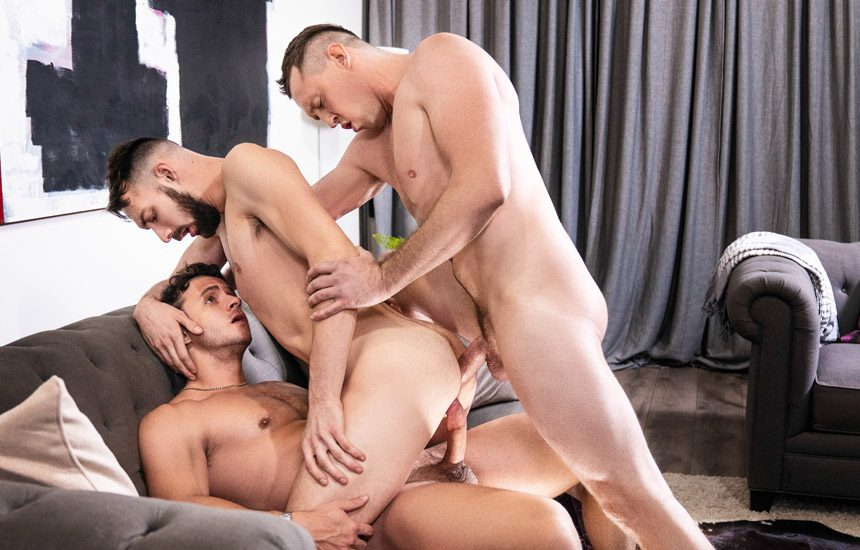 "MEN: Pierce Paris and Nate Grimes double-fuck Johnny B in ""Double Facial By Surprise"""