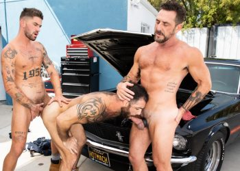 "Raging Stallion: Jake Nicola, Vince Parker & Chris Damned fuck in ""Maximum Torque"" (scene 2)"