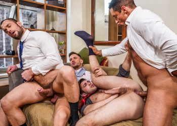"Stas Landon, Nick Capra, Ben Batemen, and Andrey Vic fuck in ""Servicing The CEO"" (scene 2)"