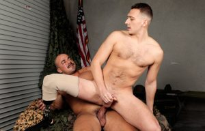 Active Duty: Justin Lewis gets his throat and ass fucked by Alex James