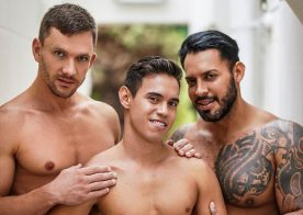 """Oliver Hunt gets fucked by Viktor Rom and Andrey Vic in """"Brutalizing Some Butt"""" (scene 3)"""