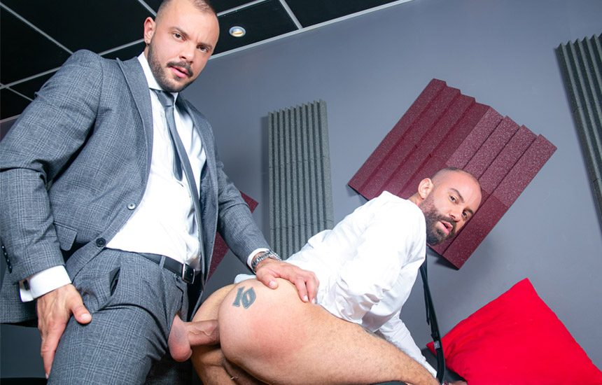 """Men At Play: Bruno Max enjoys Sir Peter's massive cock in """"Supporting Co-Worker"""""""