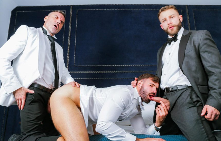 """Men At Play: Dani Robles, Diego Reyes, and Manuel Skye fuck in """"Threeway Celebration"""""""