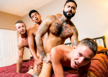 "Masqulin: Jay Seabrook, Chad Taylor, Rikk York & Johnny Hunter fuck in ""Boy's Trip"" (part 3)"