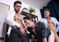 """MEN: JJ Knight and Chris Damned fuck Jack Hunter in """"Big Fuck-Up In The Kitchen"""""""