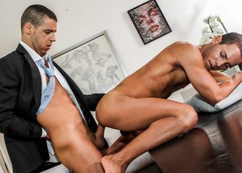 """Tommy DeLuca pounds Liesvel Lopez in """"Gentlemen 30: Sweating Some Overtime"""" (sc 4)"""