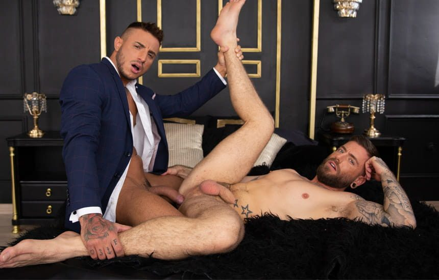 """MEN: Klein Kerr slams his raw cock deep into Rico Vega's ass in """"Better With Clothes On"""""""