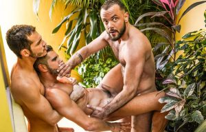 "Ricky Hard and Sir Peter fuck Valentin Amour in ""Pounded In Public View"" (scene 4)"