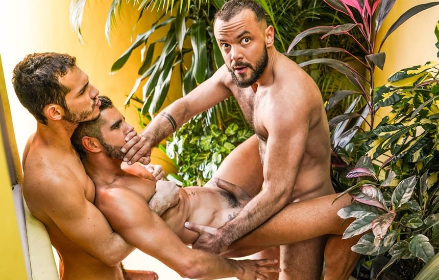 """Ricky Hard and Sir Peter fuck Valentin Amour in """"Pounded In Public View"""" (scene 4)"""
