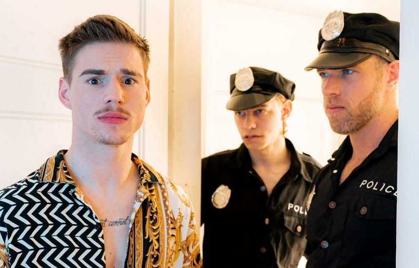 """Masqulin: Officers Leo Louis and Alex Mecum fuck Lev Ivankov in """"The Cops Want In"""" (part 1)"""