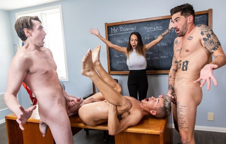 """Icon Male: Chris Damned, Jack Hunter & Andy Taylor fuck in """"My Hot Teacher"""" (scene 2)"""
