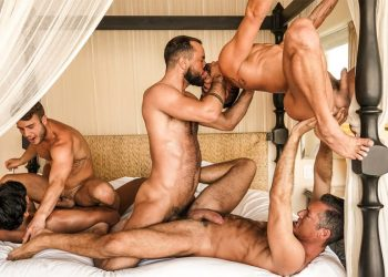 """Sir Peter and Marco Antonio lead a five-guy orgy in """"Punishing Some Hole"""" (scene 3)"""