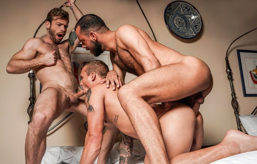 """Sir Peter, Isaac X and Gabriel Phoenix fuck in """"Punishing Some Hole"""" (scene 4)"""