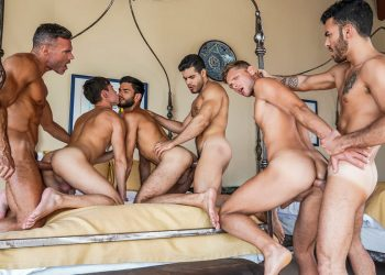 """Lucas Entertainment's """"Plowed, Pounded, Pummeled"""" begins with an 11-man orgy"""
