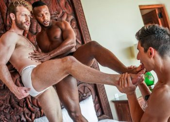 """Jim Fit takes a DP from Andre Donovan & Gabriel Phoenix in """"Filled Up With Cum"""" (scene 2)"""