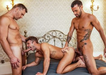 """Andrey Vic and Gustavo Cruz fuck Allen King in """"Filled Up With Cum"""" (scene 3)"""