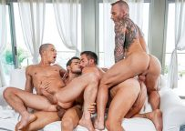 """Dylan James, Rico Marlon, Ruslan Angelo & Andrea Suarez in """"Filled Up With Cum"""" (scene 4)"""