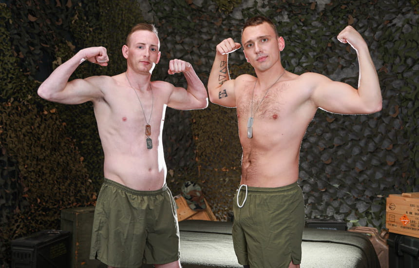 Active Duty: Newcomer Blake Cummings fills Justin Lewis up with his raw cock