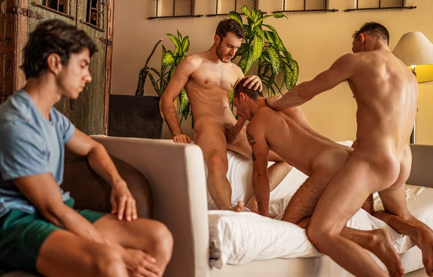 Andrey Vic & Charlie Cherry make Alfonso Osnaya watch as they fuck his BF Ricky Hard