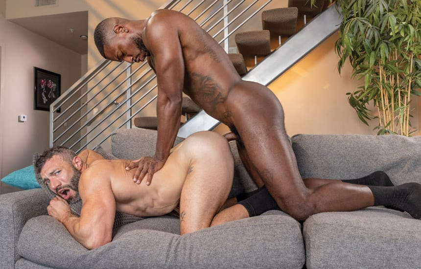 """Raging Stallion: Reign slams his big cock deep into Cole Connor in """"Just Sex"""" (scene 3)"""