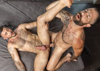 """Raging Stallion: Ian Holms bottoms for hairy top Jake Nicola in """"Just Sex"""" (scene 4)"""