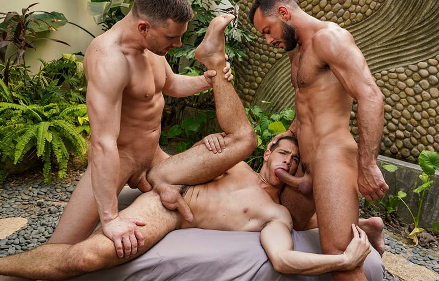 """Sir Peter and Andrey Vic spit-roast Ricky Hard in """"Unrelenting Manhood"""" (scene 1)"""